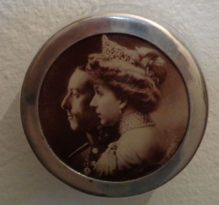 Alfonso XIII of Spain Queen Victoria Eugenie Battenberg Silver Photo Pill Box